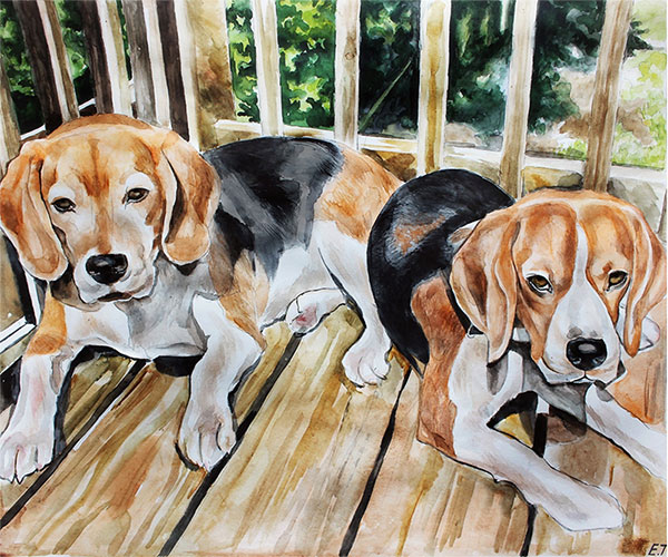 les chiens en tableau de peinture