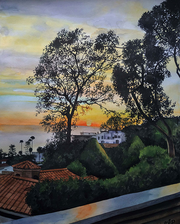 watercolor painting of the sunset by the sea