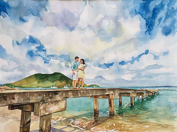 custom watercolor painting of a couple standing on the pier