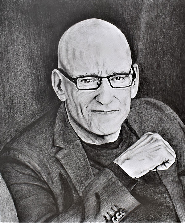 custom pencil portrait of a bald man with glasses
