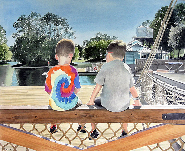 watercolor painting of two young boys sitting by the pier