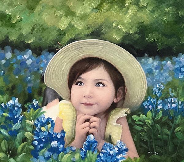 ritratto bambina da foto tecnica olio