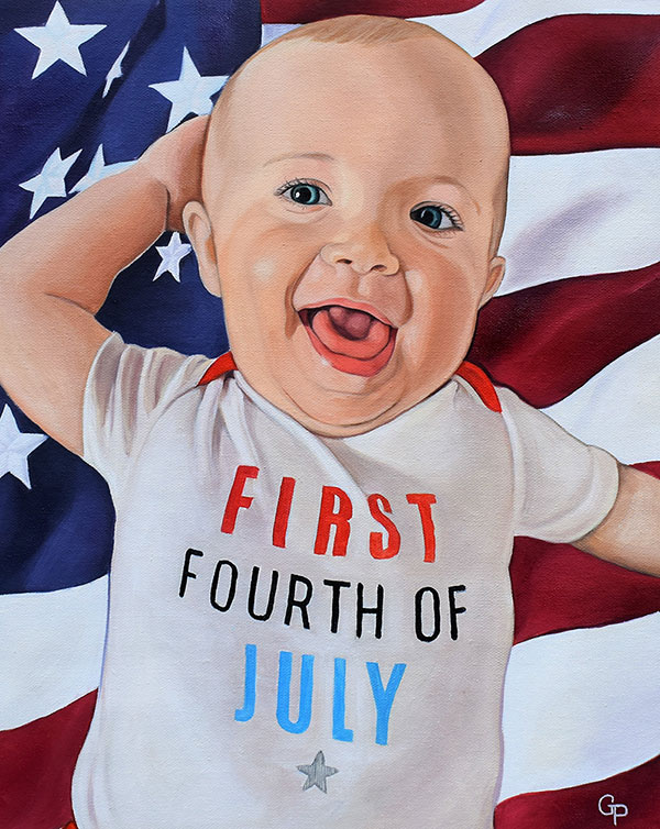 a custom oil painting of a child usa flag