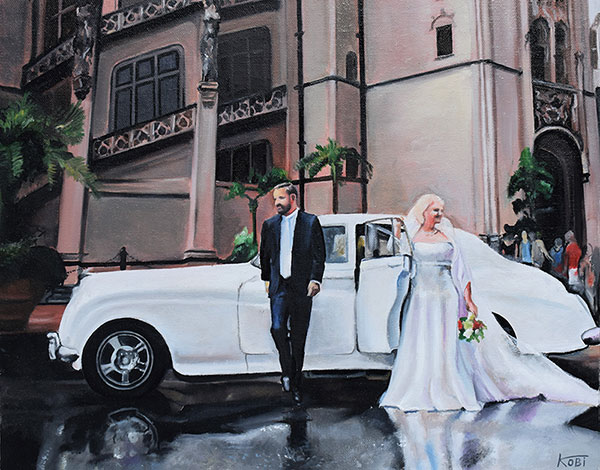 an oil painting of a wedding couple exiting a car
