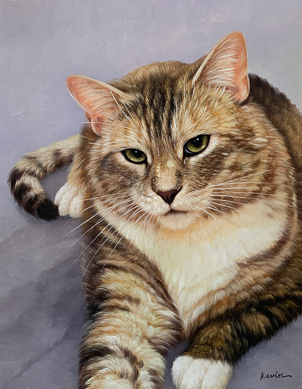 oil painting of a blonde fat cat
