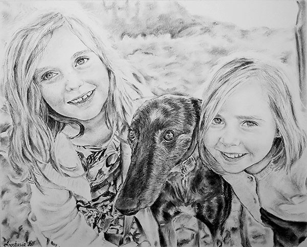 custom charcoal drawing