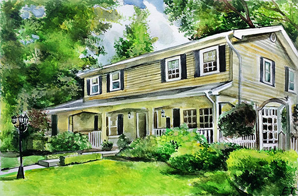 custom watercolor painting of yellow house