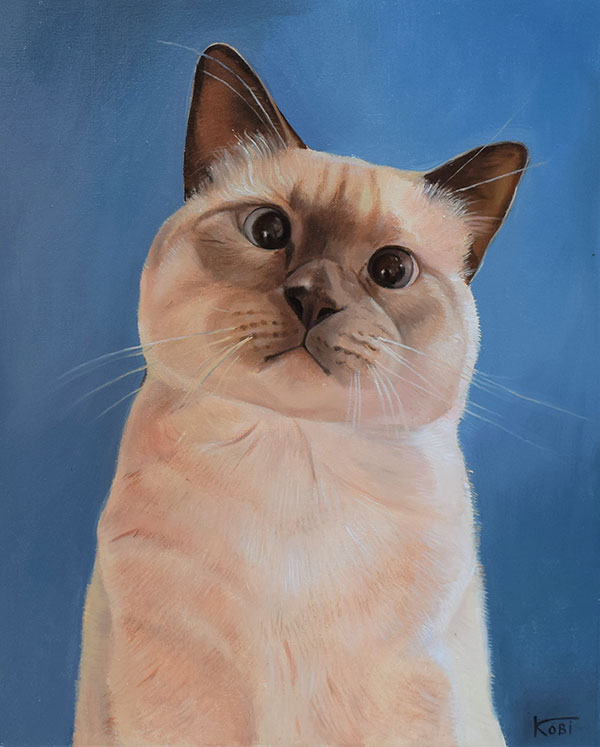 custom oil painting of adorable cat