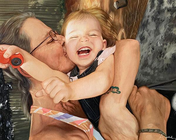 an oil painting of grandma kissing her grandchild