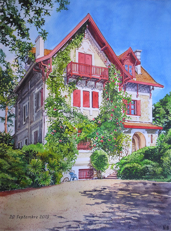 watercolor painting of beautiful home covered in shrubs