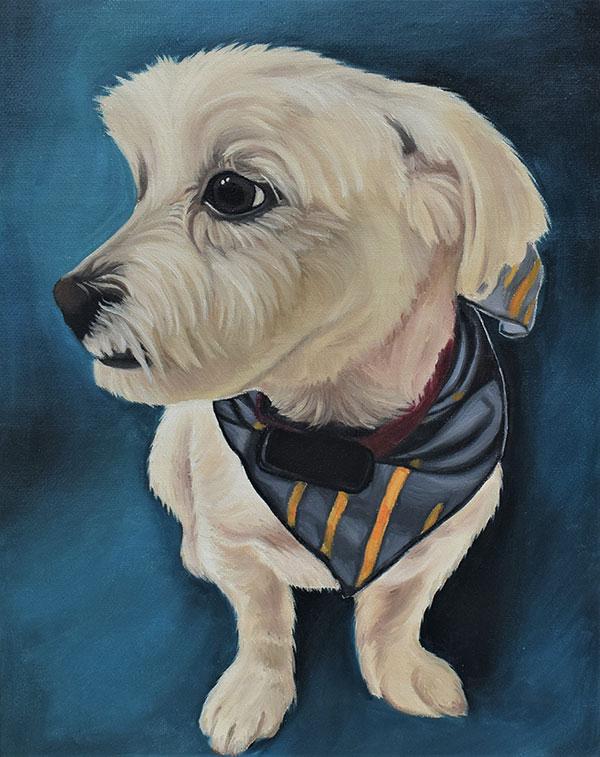 handmade oil painting of tiny white dog with bandana