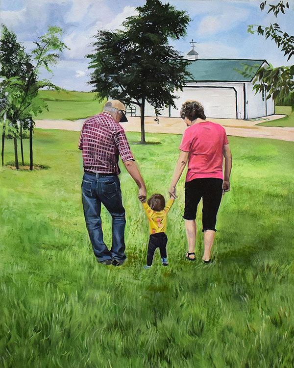 custom acrylic painting of a family outdoors