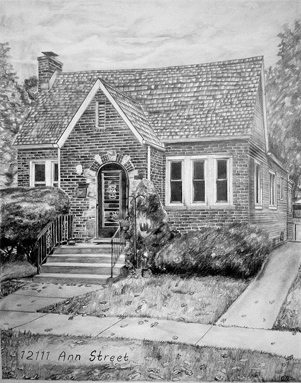 a black pencil drawing of a small house
