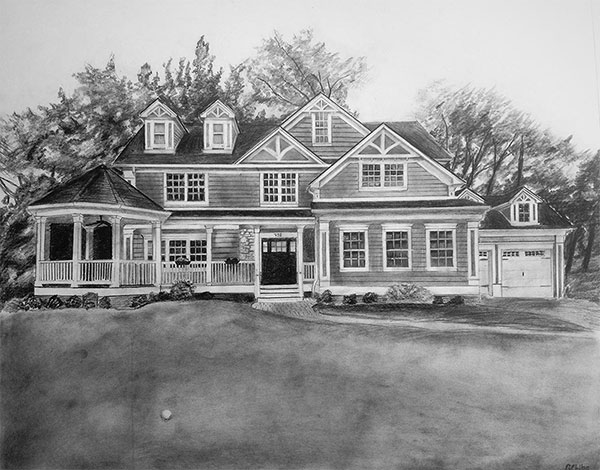 black pencil drawing of a large house outdoors