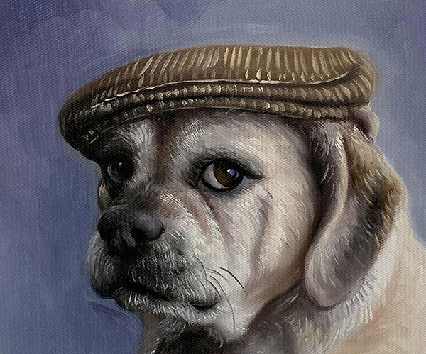 custom dog portrait with a hat