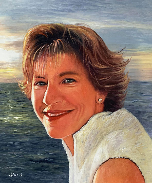 oil portrait of a lady with the sea behind her