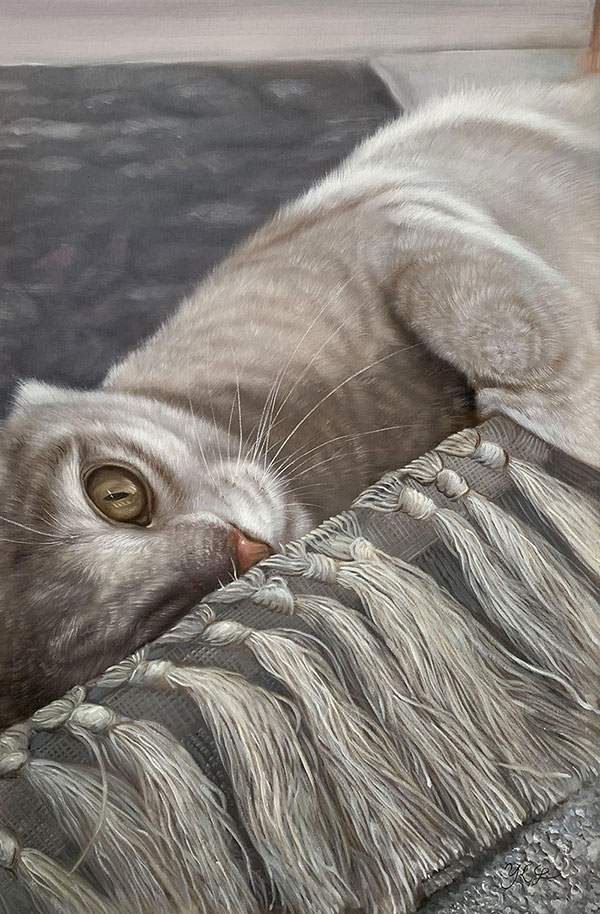 oil portrait of a grey cat playing