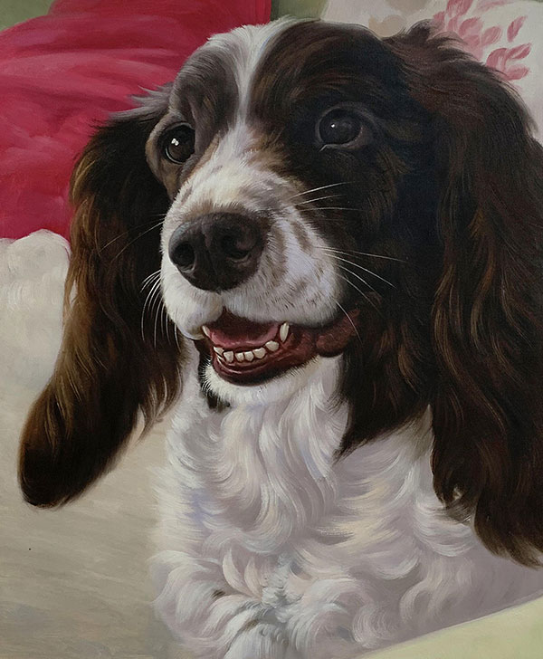 Custom oil portrait of a dog