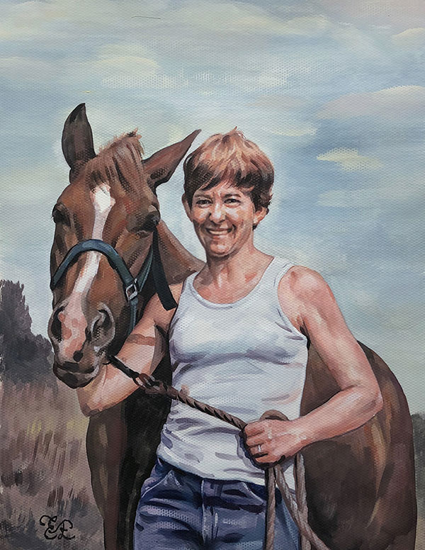 picture to custom pastel painting horse and owner