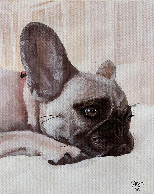 custom art piece pastel painting dog on bed