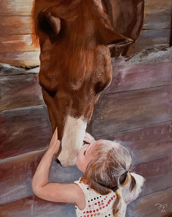 picture to hand made pastel painting horse and little girl