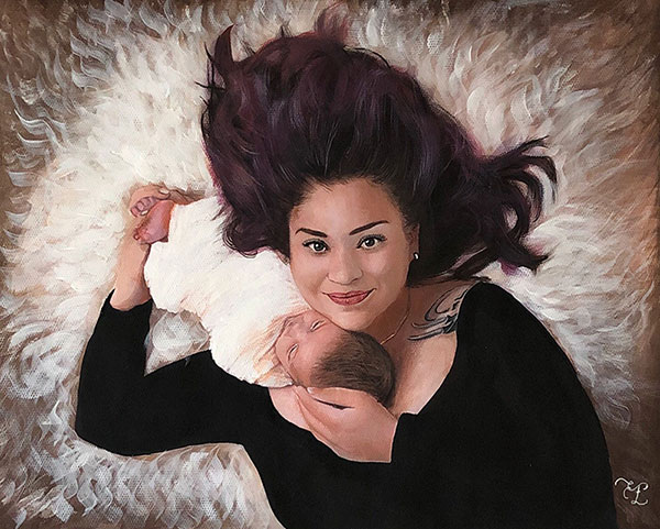 custom pastel painting of woman and newborn laying