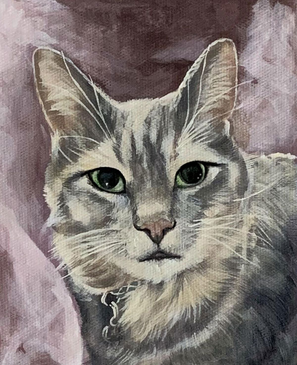photo to painting pastel close up of kitty