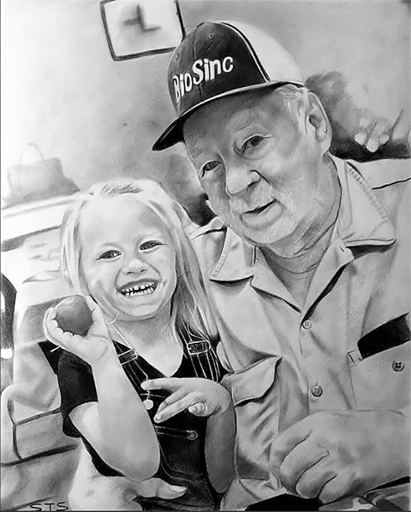 picture to charcoal drawing of father and child