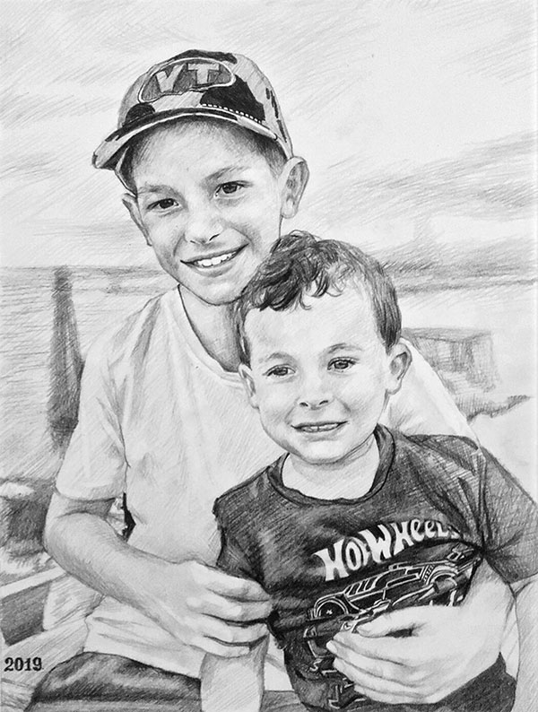 custom charcoal drawing of young brothers