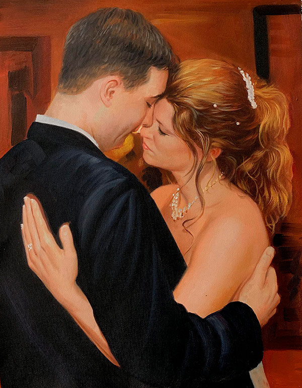 Beautiful acrylic painting of a loving couple