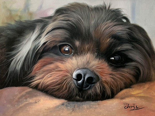 custom dog painting hand-painted in oil