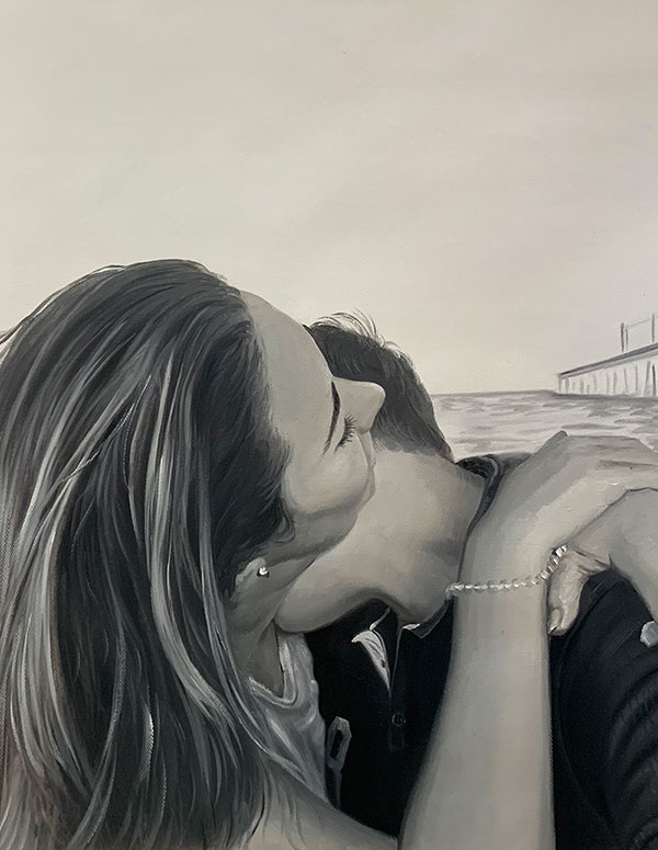 Gorgeous hand drawn oil painting of a loving couple