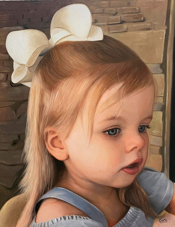 Gorgeous hand drawn oil painting of a girl with a bow