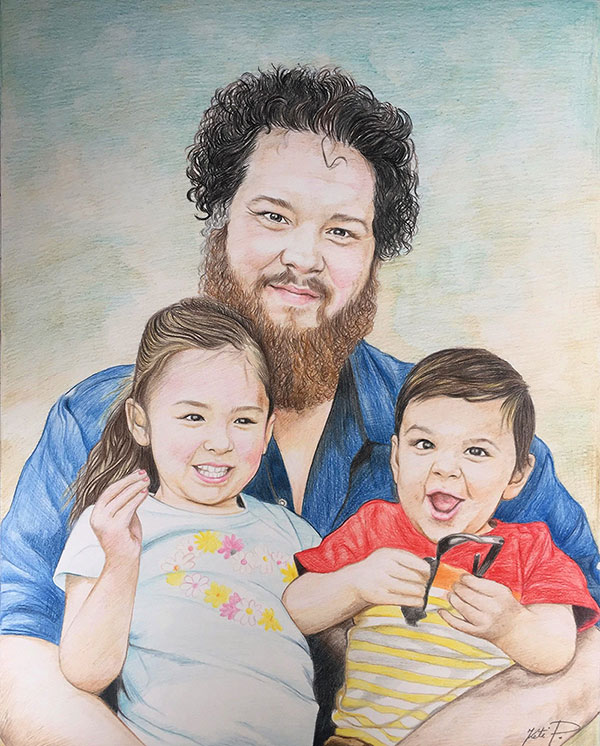 color pencil drawing of a father and children