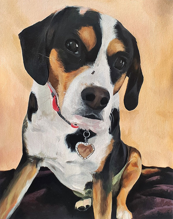 handmade acrylic painting of a English Foxhound