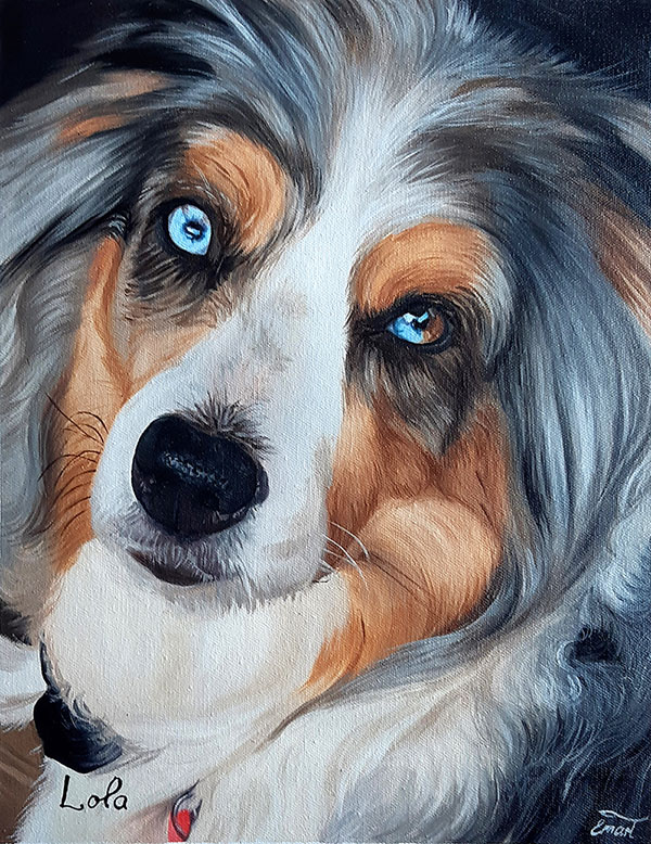 custom painting of long haired dog with heterochromia