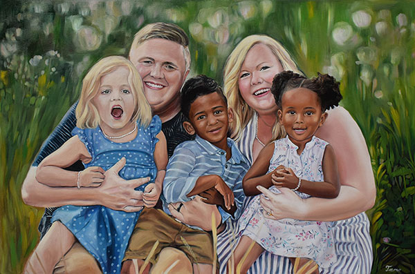 custom oil painting of a family outside in the flower fields