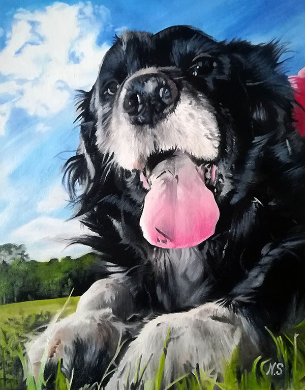 custom oil portrait of a happy dog with tongue out