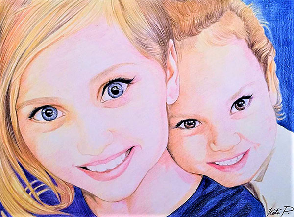 Custom color pencil drawing of two children with blonde hair