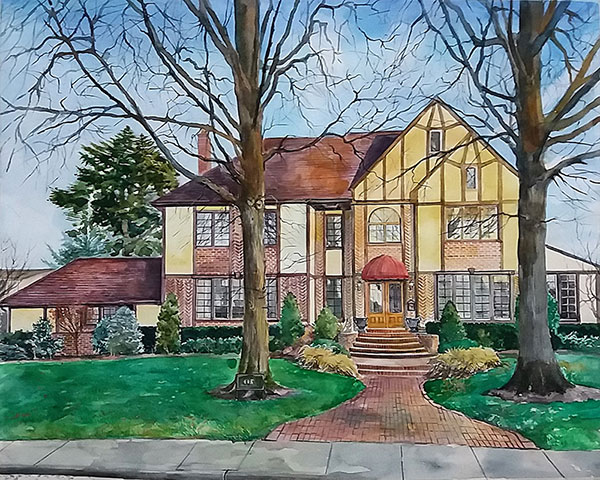 Colorful watercolor drawing of a house