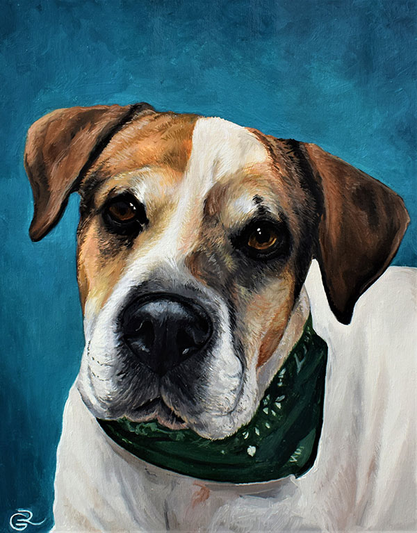 Oil painting of a dog with green bandana