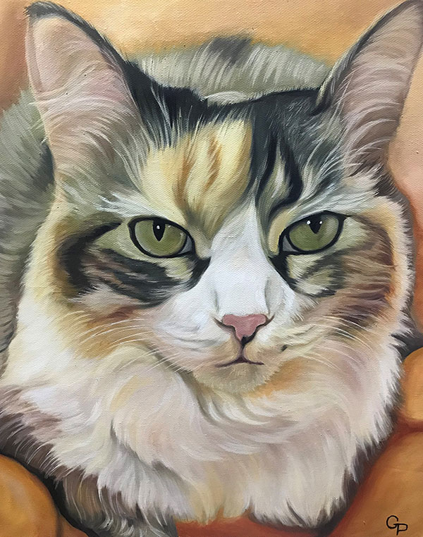 Close up hand drawn oil painting of a cat