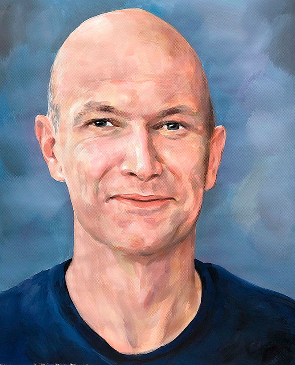 Close up pastel portrait of a man