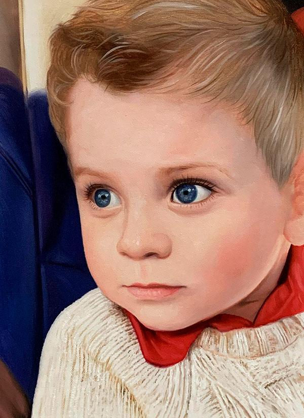 Close up oil painting of a boy