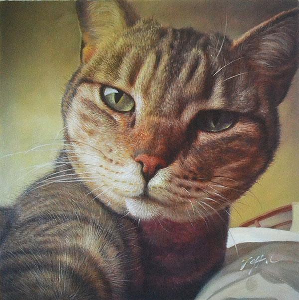 cat portrait in oil