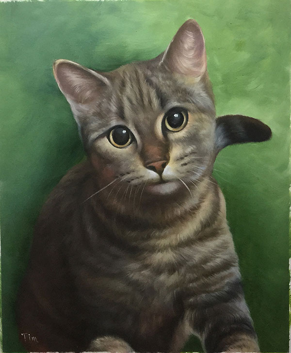 Custom oil handmade portrait of shabby cat green background