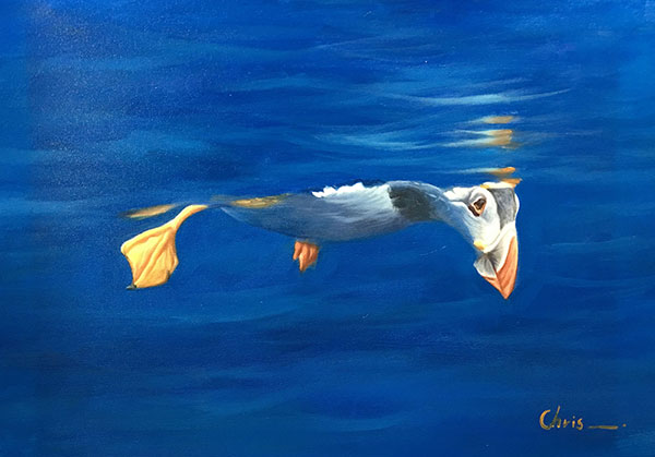 oil painting of duck floating in the water