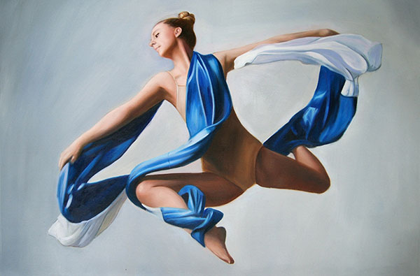 custom oil painting of dancer in mid air