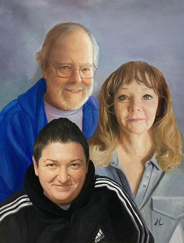 Personalized oil painting of a family