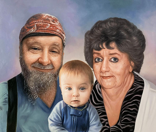 Beautiful oil artwork of the grandparents with a grandchild